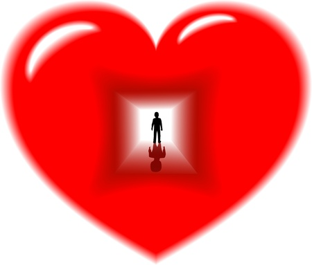 Man looking Into the core of his heart Stock Vector - 16126008
