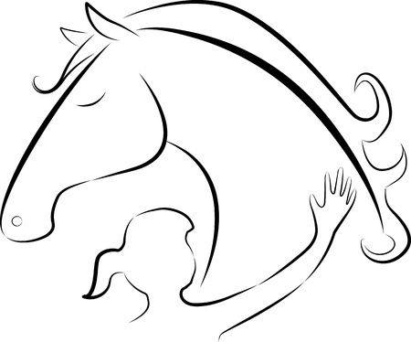 illustration of Girl touching a horse - logo Vector