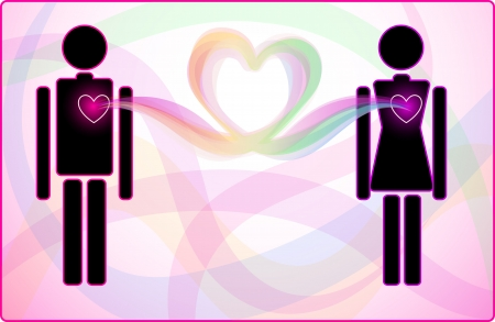 Concept of heart connection between man and woman Stock Vector - 16126015