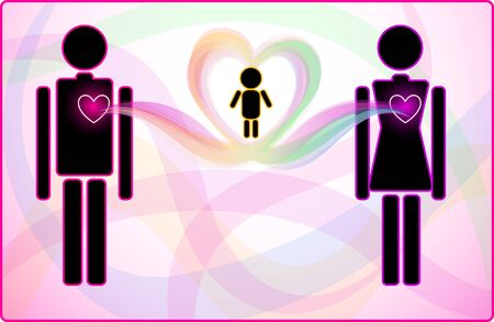 Concept of heart connection between man and woman supporting their baby Stock Vector - 16126016
