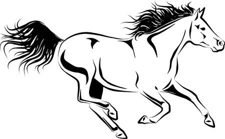 corse di cavalli: illustrazione del cavallo al galoppo Vettoriali