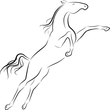 springpaard: illustratie van het springen paard Stock Illustratie