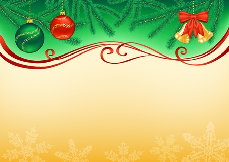 Christmas background decorated with branches, baubles, bells, snowflakes and ribbons  Vector