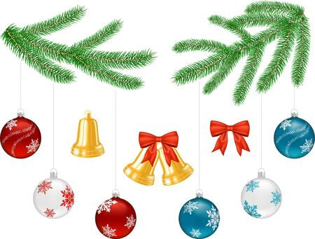 Objects for Christmas decorations - tree branches, bells, bow, boubles Stock Vector - 16126022
