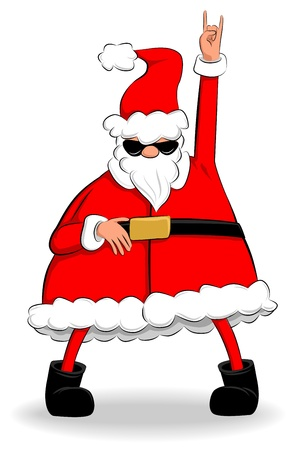 Funny fat Santa Claus dancing and partying Vector