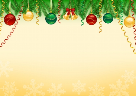 Christmas background decorated with tree branches, baubles, bells, snowflakes and swirls