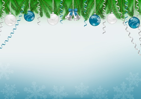 Christmas background decorated with tree branches, baubles, bells, snowflakes and swirls  Vector