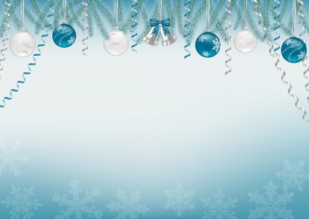 Blue Christmas background decorated with tree branches, baubles, bells, snowflakes and swirls  Illustration