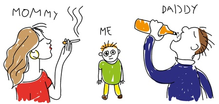 Child s drawing of him and his parents with alcohol and smoking addictions  Vectores