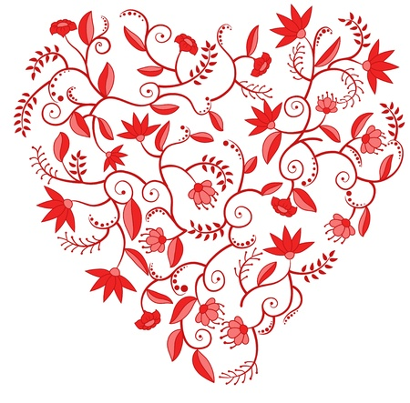 heart shaped leaves: Heart shaped pattern with flowers, leaves and curles