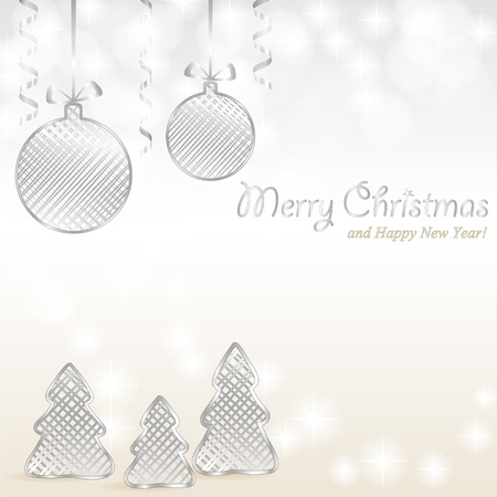Christmas shiny silver background with baubles, trees and text Stock Vector - 16351757