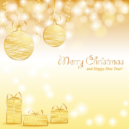 Christmas shiny golden background with baubles, gifts and text Stock Vector - 16351758