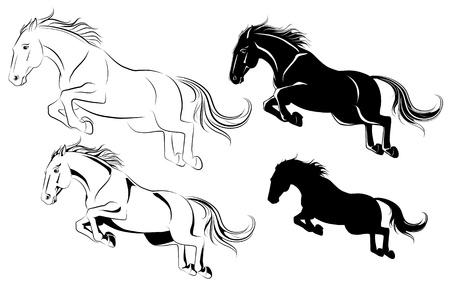 caballo saltando: Ilustración vectorial de caballo de salto en blanco y negro