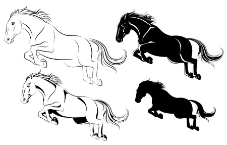 Vector illustration of jumping horse black and white Illustration