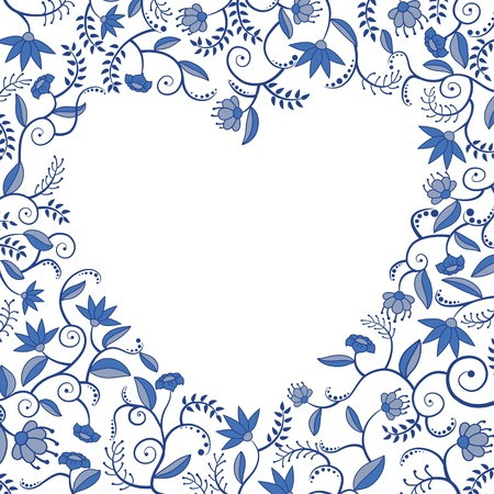 Floral decorative pattern with heart shaped hole Stock Vector - 16446496