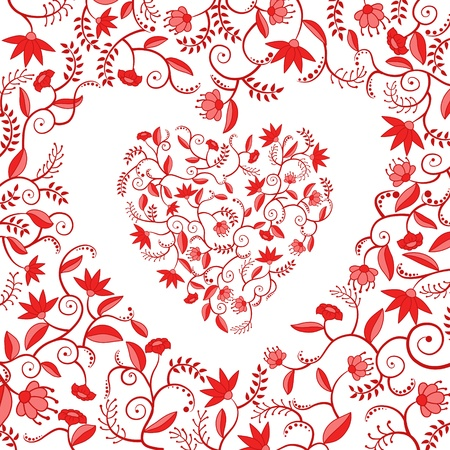 heart shaped: Floral decorative pattern with heart shaped hole