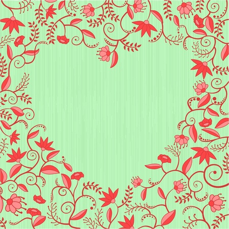 Floral decorative pattern with heart shaped hole Vector