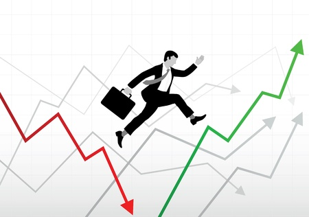Business man with case jumping on chart lines