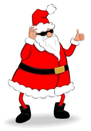 Funny fat Santa Claus showing thumb up Stock Vector - 16524868