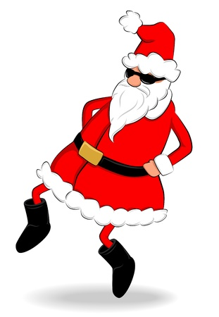 Funny fat Santa Claus with sunglasses dancing