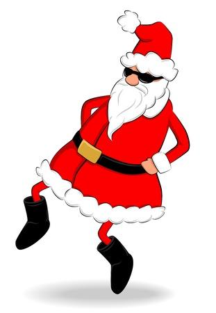 Funny fat Santa Claus with sunglasses dancing