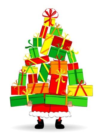 Funny Santa holding gifts Stock Vector - 16585054