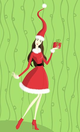 Illusration of a young lady holding christmas gift on green background Stock Vector - 16629952