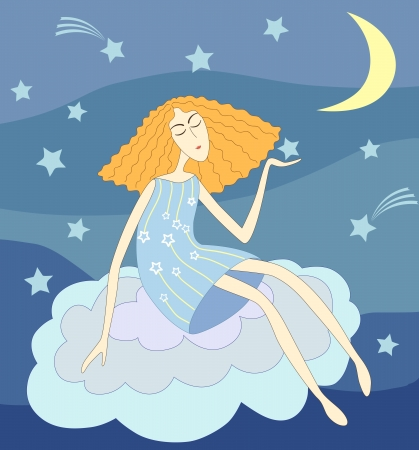 Beautiful young lady sitting on a cloud in the night holding a star in her hand Illustration