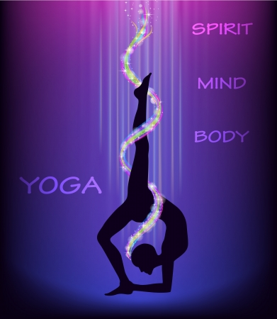 Yoga wheel pose  eka pada chakrasana   Illustration