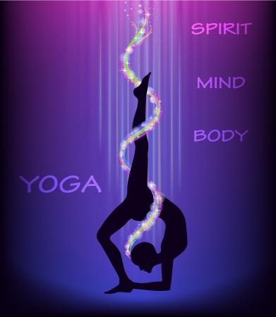 practicing: Yoga wheel pose  eka pada chakrasana   Illustration