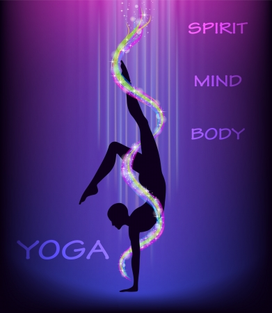 mind body spirit: Silhouette of a man doing yoga handstand