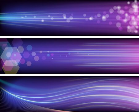 Three shiny purple banners with neon rays Stock Vector - 16847200