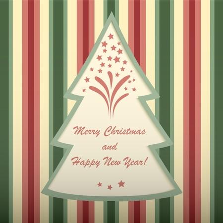 Christmas card with tree shaped frame