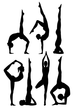 Yoga poses silhouettes  Stock Vector - 16847194