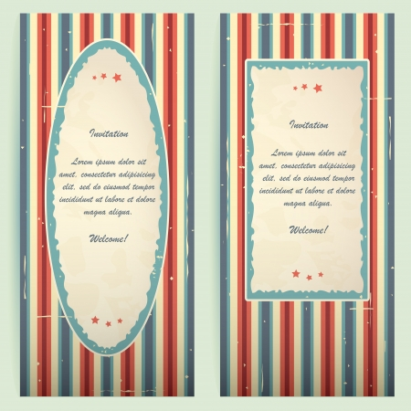 Blue-red invitation cards