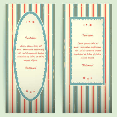 Blue-red invitation cards light Vector
