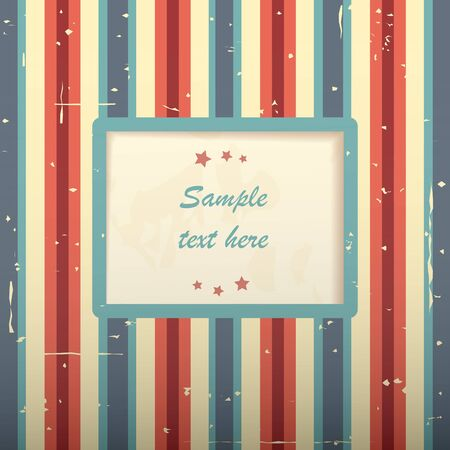 Square vintage striped card with place for text. Illustration