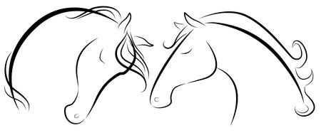 dessin noir blanc: Vector illustration de t�te de cheval noir et blanc