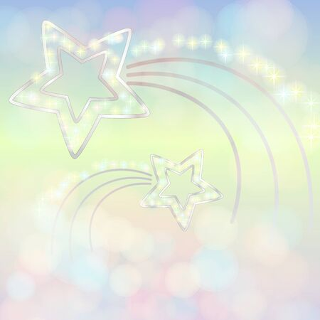 silver star: Shiny colourful background decorated with silver stars