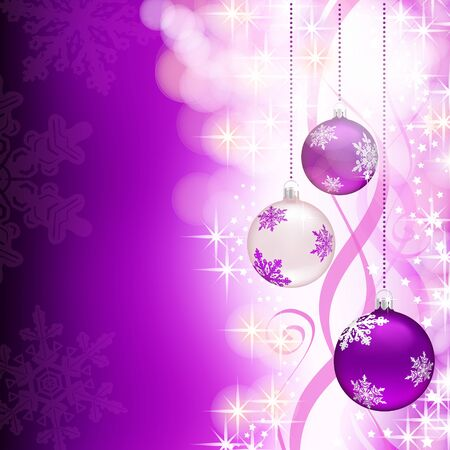Three Christmas baubles hanging, on a shiny purple background