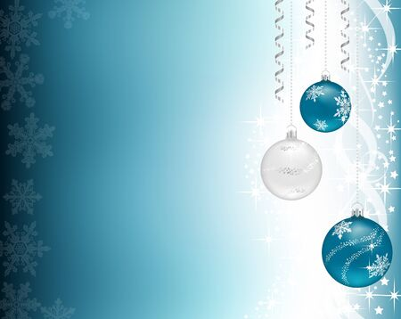Three Christmas baubles hanging, on a shiny blue background