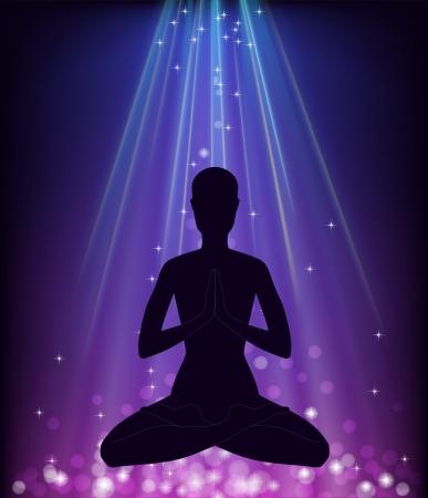 Man in yoga pose - padmasana