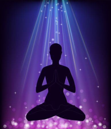 Man in yoga pose - padmasana Stock Vector - 17068532