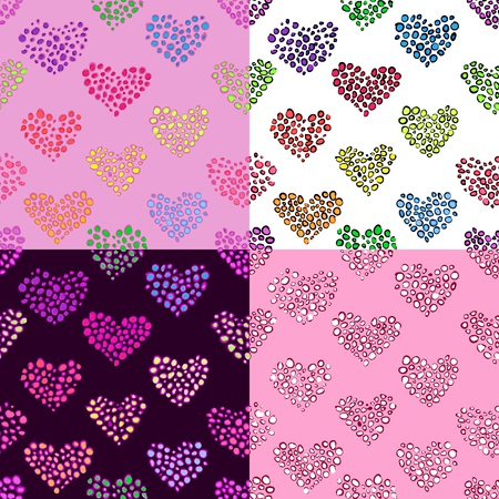 Seamless pattern with hearts with different colour variations