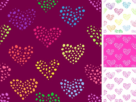 Seamless pattern with  hearts made out of small spots  Vector