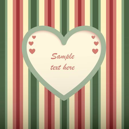 Red green striped card with heart shaped place for text