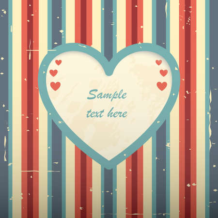 Red blue striped card with heart shaped place for text