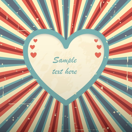 Red blue retro card with heart shaped place for text  Vector