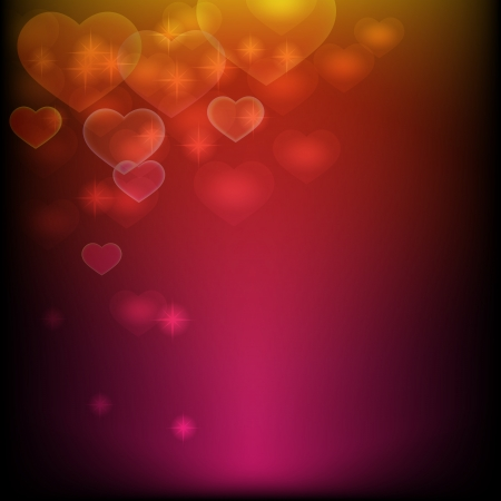 Abstract glowing  background decorated with shiny hearts Stock Photo