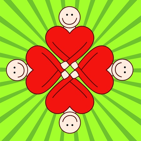 mutual help: People togetherness - red hearts  Illustration